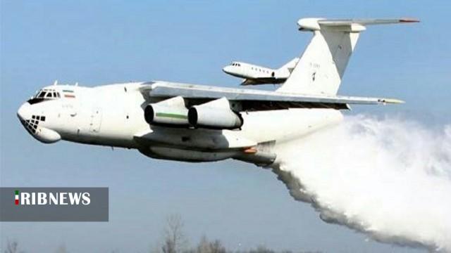 هواپیمای ایلوشین بر فراز تالاب انزلی برای  مهار کامل آتش