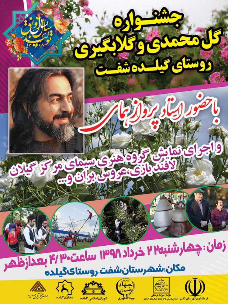 با حضور* پروازهمای* جشنواره گل محمدی و گلابگیری در گیلده شهرستان شفت