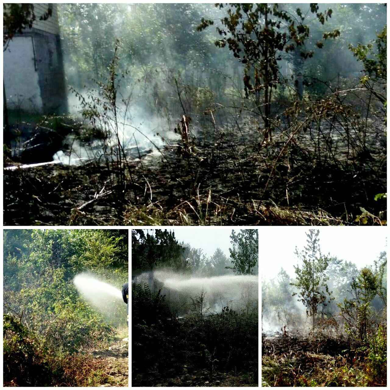 تلاش ۷۰۷ دقیقه ای آتش نشانان شهر باران جهت اطفای آتش سوزی علفزارها در رشت