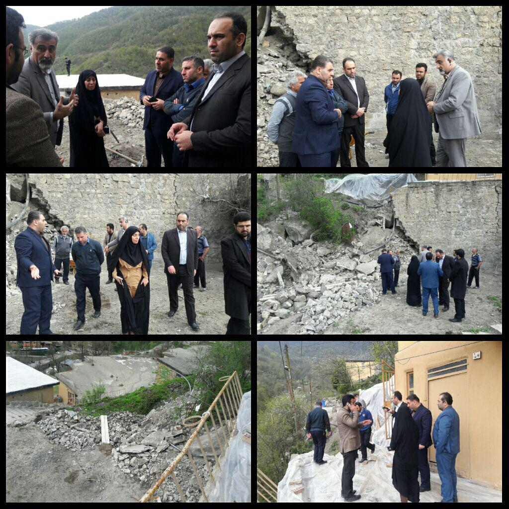 بازدید مدیرکل دفتر فنی استانداری از رانش کوه در ماسوله